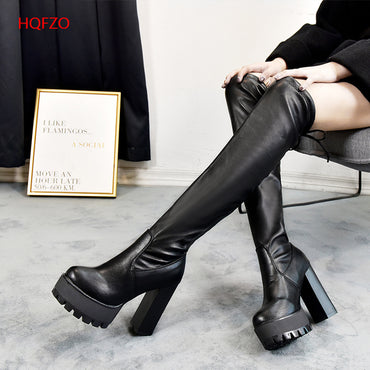 Leather Platform Long Boots