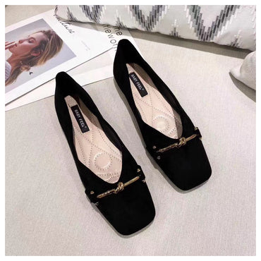 Casual Metal Buckle Square Toe Flats Shoes
