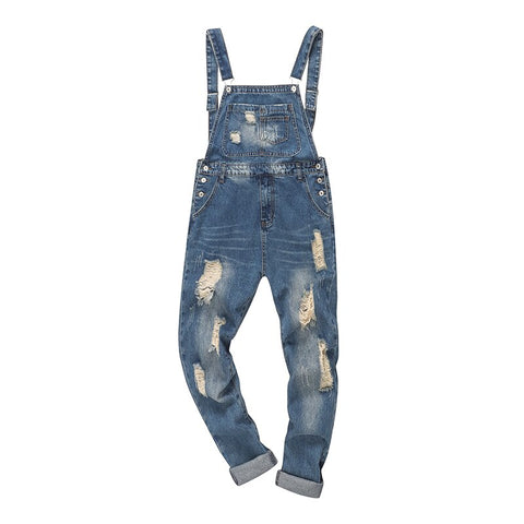 ankle length holes ripped denim bib overalls Distressed jeans