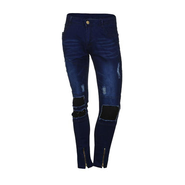 Slim Biker Zipper Denim Skinny Frayed Casual Jeans
