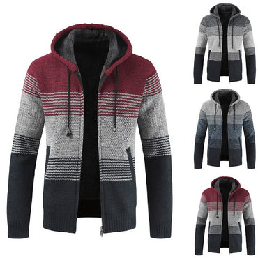 Casual Packwork Hoodie Streetwear Zipper Long Sleeve Thick Wool Sweater