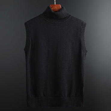 Pullover Vest Slim Fit Turtleneck Jumpers Knitred Sleeveless Sweater