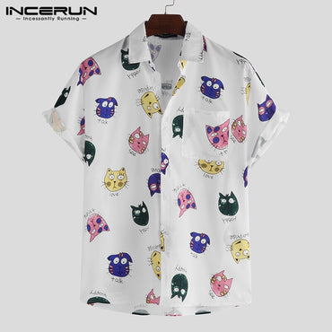 Cartoon Printed Loose Casual Short Sleeve Shirts
