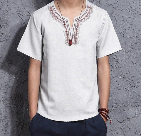 Cotton Embroidery Tops Casual Patchwork Streetwear Short Sleeve Shirts