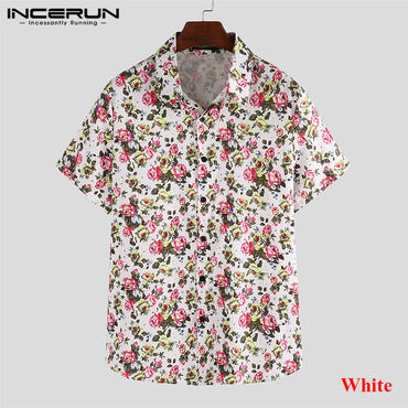 Hawaiian Shirt Flower Print Turn-down Collar Casual Beach Short Sleeve Shirts