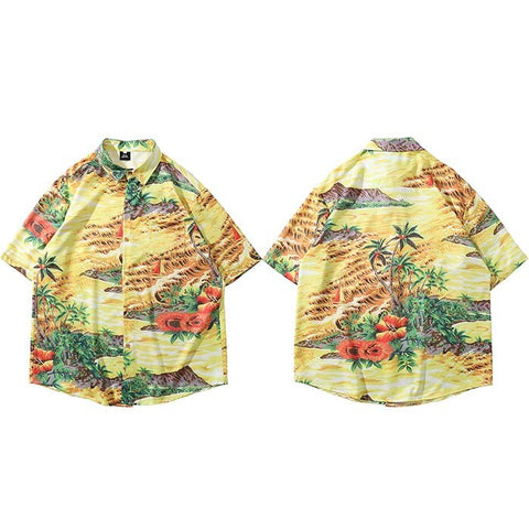 Hip Hop Shirt Streetwear Chinese Style Painting Short Sleeve Shirts