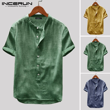 Solid Color Breathable Tops Casual Vintage Short Sleeve Shirts