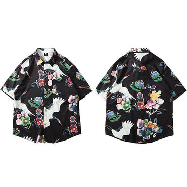 Hawaiian Shirt Chinese Painting Crane Short Sleeve Shirts