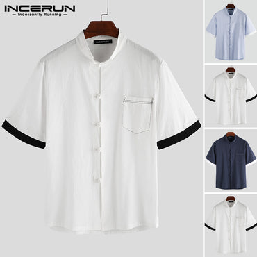 Casual Shirt Retro Cotton Patchwork Short Sleeve Shirts