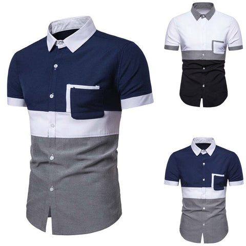 Solid Formal Business Casual Short Sleeve Shirts