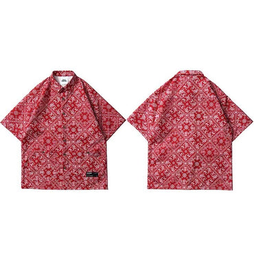 Retro Vintage Pattern Harajuku Beach Short Sleeve Shirts