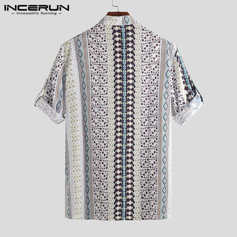 Vintage Half Sleeve  Print Stand Collar Casual Loose Short Sleeve Shirts