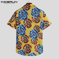Printed Hawaiian Shirt Lapel Streetwear Short Sleeve Shirts