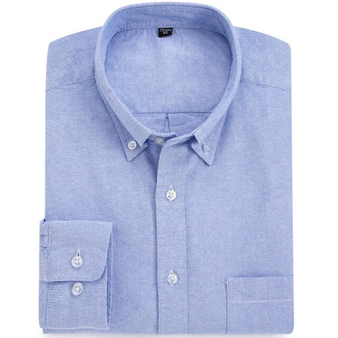 Casual Solid/striped Oxford Cotton Dress Shirt