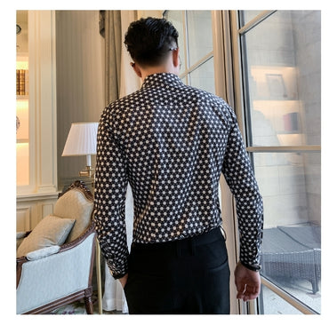 Dot Printing Stylish Long Sleeve Lapel Neck Dress Shirt