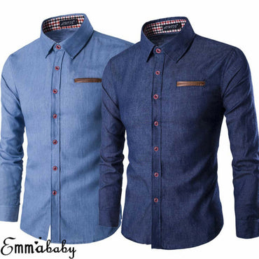 Casual Slim Fit Stylish Wash Denim Long Sleeves Dress Shirt
