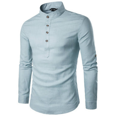 Long Sleeve Undershirt Slim Pure Color White Dress Shirt