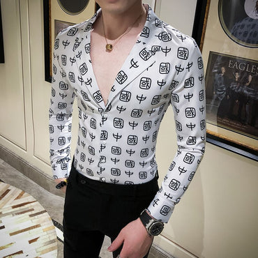 British Style Digital Print Long Sleeve Dress Shirt
