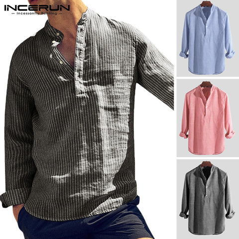 Striped Chic Stand Collar Button Long Sleeve Dress Shirt