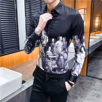 Camisa Masculina Club Party Prom Streetwear Social Dress Shirt