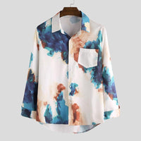 Casual Breathable Long Sleeve Button Loose Hawaiian Dress Shirt
