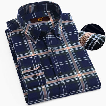 Button Down Soft Cotton Brushed Gingham Dress Shirt