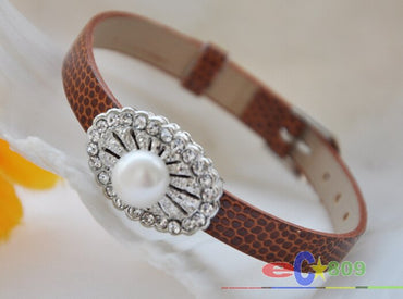 white round freshater pearl coffee leather watchband Bracelet & bangles