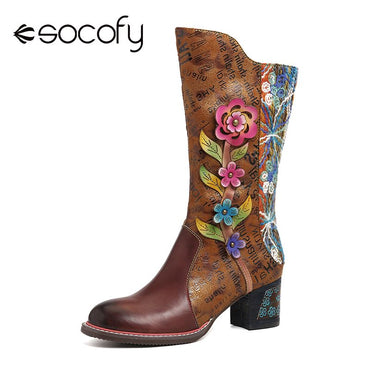 Painted Words Pattern Botas mujer Genuine Leather Splicing Brown Low Heel Tall Boots