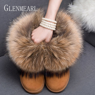 Genuine Leather Real Fox Fur boot