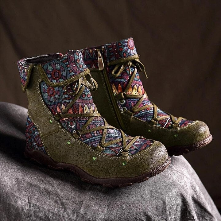 Retro warm Leisure Embroidery Stitching lace up Ankle Boots