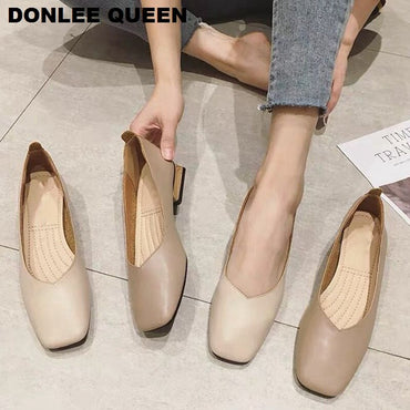 Low Heel Ballet Square Toe Shallow Brand Shoe Slip On Flats Shoe