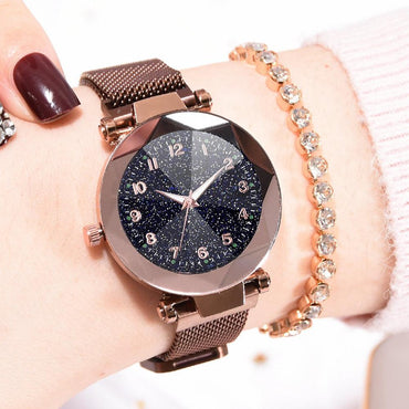 Stainless Steel Magnetic Buckle Strap Refractive surface Luminous Dial Ladies Quartz Watch