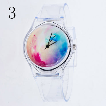Plastic Cartoon Transparent Strap Wristwatches