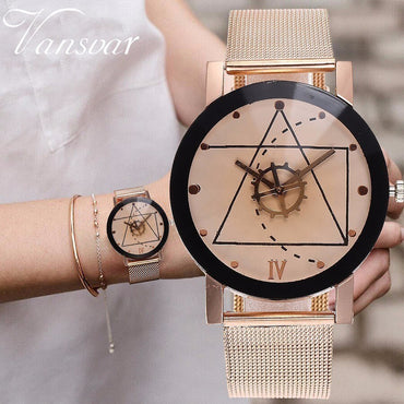 Unisex Rose Gold & Silver Gear Style Watches