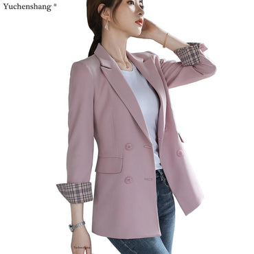 Double Breasted Solid Blazer Jackets & Coats
