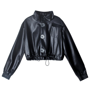 Long Sleeve Pu Leather Big Button Drawstring Pockets Short Jackets & Coats