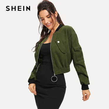 Army Green O-Ring Zip Up Flap Pocket Stand Collar Crop Button Jackets & Coats