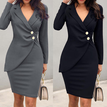 Elegant Office Sexy Solid Turn Down Neck Long Sleeve Buttons Bodycon Work Formal Dress