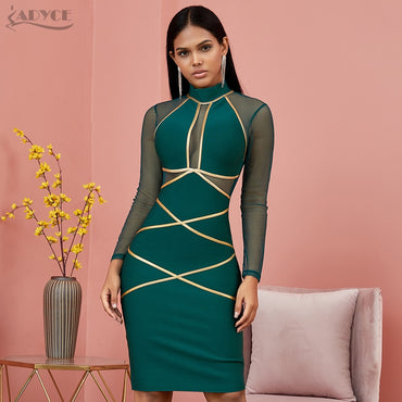 Long Sleeve Green Lace  Bandage Dress