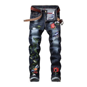 Floral Embroidery Denim Pencil Pants Vintage Washed Slim Fit Jeans