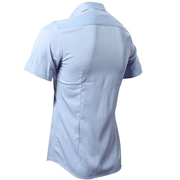 Casual Slim Fit Easy Care Solid Non Iron Chemise Short Sleeve Shirts