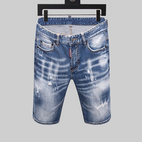 Slim denim trousers zipper stripe hole blue hole Shorts