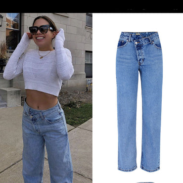 high waist loose straight small trumpet jeans
