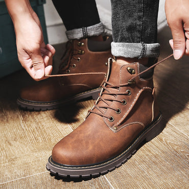 Casual Versatile plus Cotton Warm Leather Boot