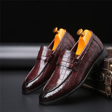 Crocodile Pattern Loafers  Leather Oxford shoes