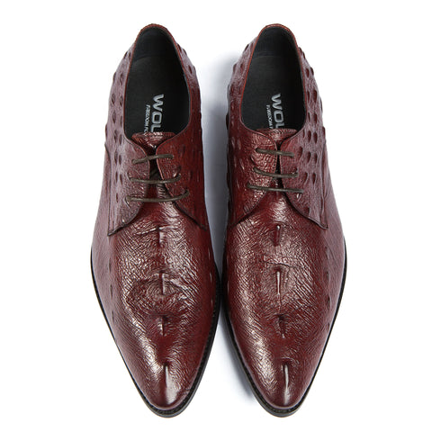 Embossed Ostrich Skin Pointed Toe Oxford shoes