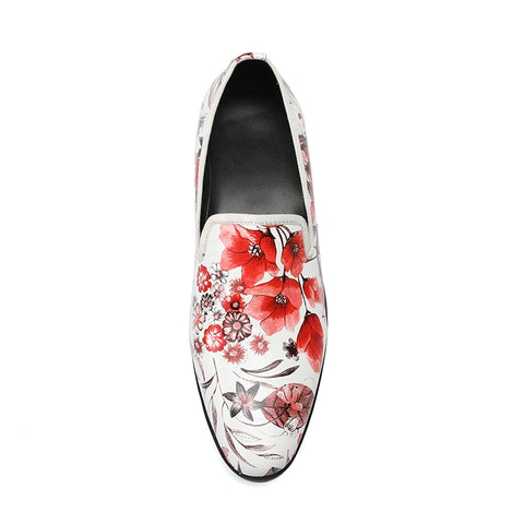 White print flower slip-on oxford fashion falt leather pointed toe Oxford shoes