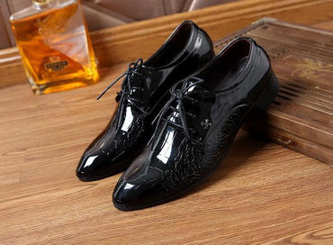 Crushed ice grain crocodile skin Oxford shoes