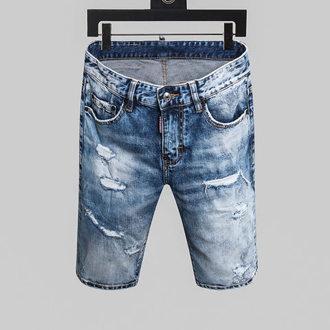 Slim zipper stripe hole blue hole Shorts