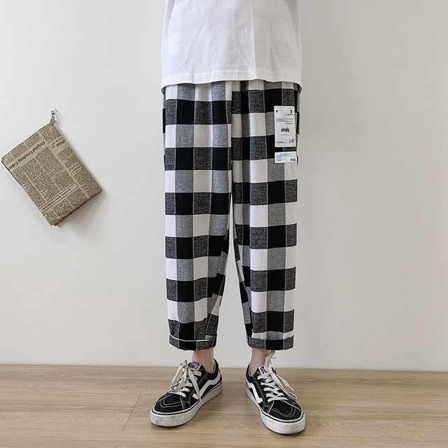 Leisure Lattice Printing Cotton Casual Pants